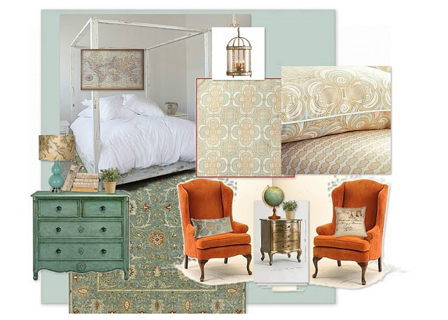 Orange, Aqua, and gold combination: Colors Combos, Mood Boards, Design Boards, Teal Bedrooms, Bedrooms Design, Colors Schemes, Colors Pallette, Master Bedrooms, House
