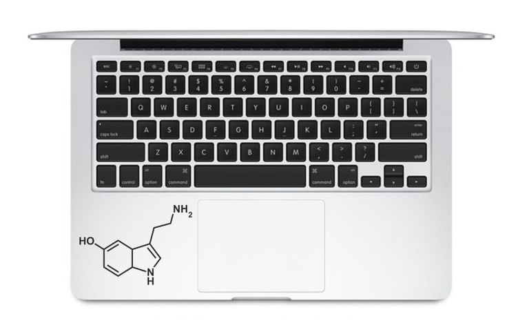 "Serotonin - Sticker Decal Apple Macbook Pro Air Laptop. • Premium Quality Vinyl Sticker by Orafol • All stickers come in Matt Finish • Fits Macbook Pro and Macbook Air of Any Size: 11"" 13"" 15"" 17"" • Make your Macbook/Laptop a Unique One with a variety of designs available in our Store! • This Sticker can be easily applied and removed with no residue or glue left behind virtually to any flat surface... Your laptop, car, wall, glass etc..."