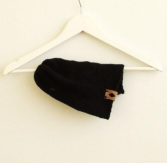 Winter SALE Knit Beanie Hat Black Slouchy Beanie by AJatelier