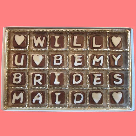 Will U Be My Bridesmaid Chocolates!   we ❤ this!  moncheribridals.com  #willyoubemybridesmaid #bridesmaidgifts