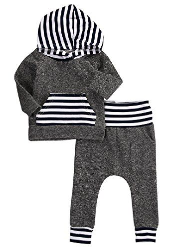 Newborn Baby Boy Girl Warm Hoodie T-shirt Top  Pants Outfits Set Kids Clothes (3-6 Months Gray)