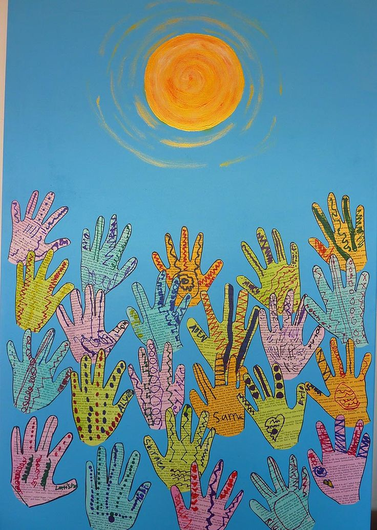 Class Canvas - Book Week 2015 - Each student traces hand and draws pattern and name - dyed book pages. Prep and Year 1