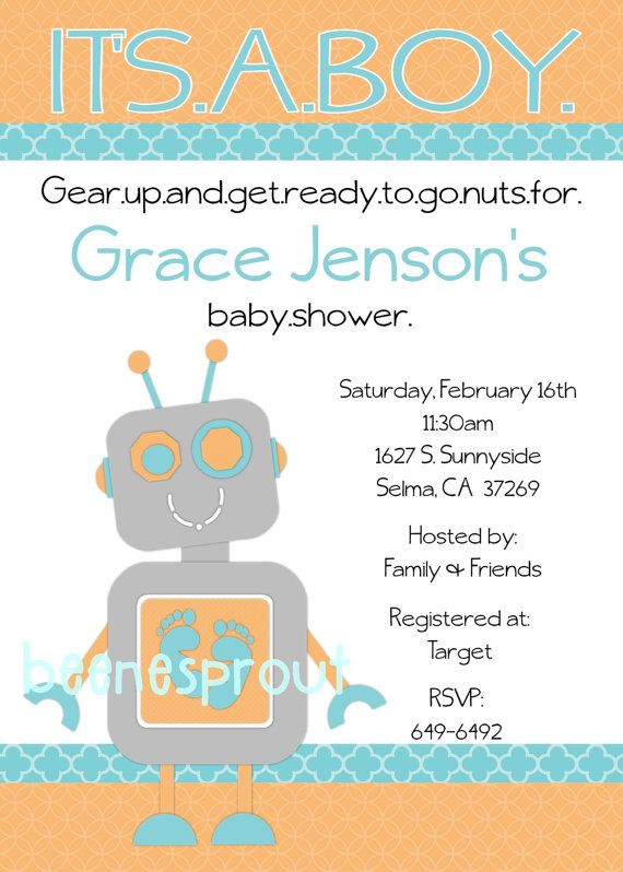 Robot Baby Shower Invitation on Etsy, $12.50