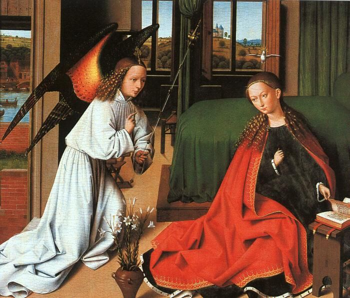 The Annunciation, by Petrus Christus, Berlin: Christus Berlin, Angel, Apetruschristusjpg 584537, Navidad Anunciación, Apetrus Christus Jpg 584 537, Ave Maria, Virgin Mary, Ads, Painting