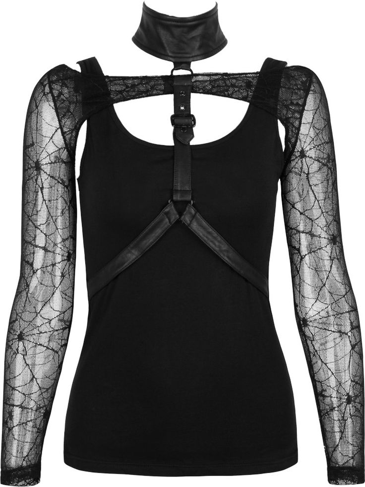 Punk Rave women's top with gothic harness http://www.the-black-angel.com/gothic-longsleeves-women/1325-leatherette-harness-punk-rave.html