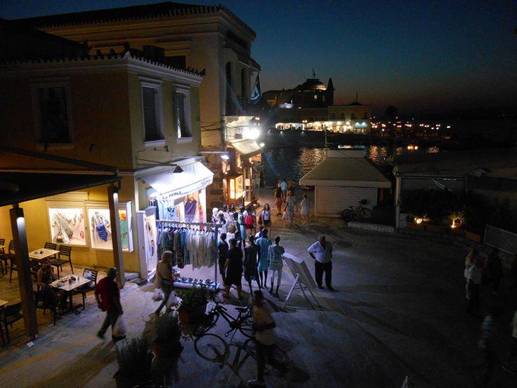 Spetses night scene from Alexandris Hotel balcony