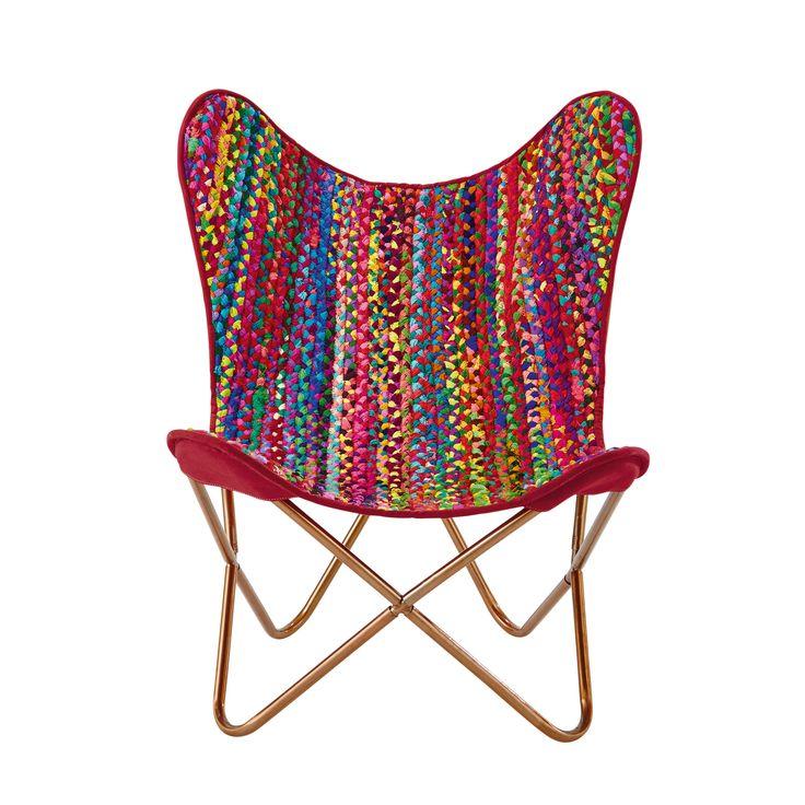 Fauteuil tressé en coton recyclé multicolore Flamenco