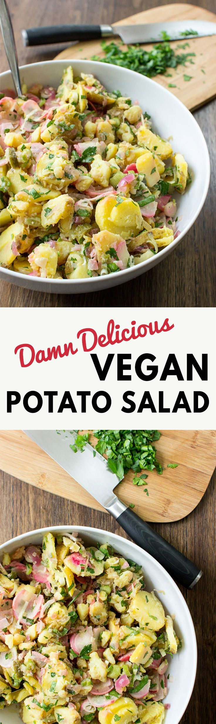Damn Delicious Vegan Potato Salad - No Oil, No Mayo | hurrythefoodup.com
