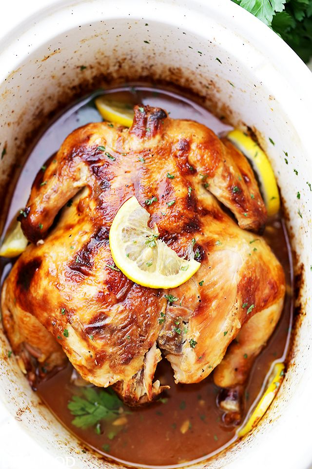 Crock Pot Honey Lemon Chicken Recipe - Rubbed with lemon-pepper butter and a…