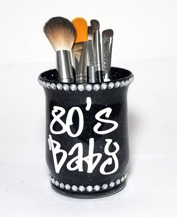 7c957613eddb 80's 90s baby glitter makeup brush pen holder cup Rhinestones Pink Black  Vanity desk room organizer decor | Products | Makeup brush case, Black  makeup brush ...