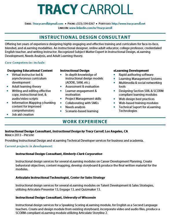 Instructional Design Resume Resume Ideas