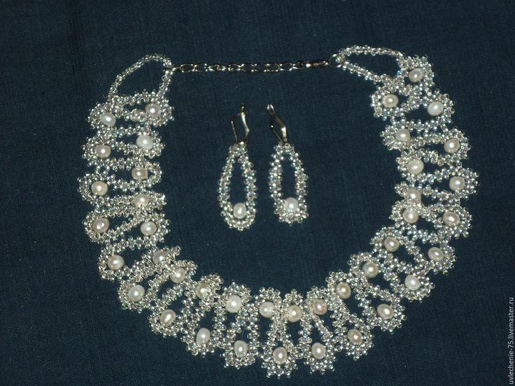 """Купить Комплект """"Жемчужный"""" - свадебное украшение, жемчуг натуральный, украшение для невесты, украшения ручной работы"""