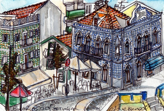 Original Watercolor Painting Buarcos, Portugal.  $56.00  Go to www.clairenelsonesch.etsy.com