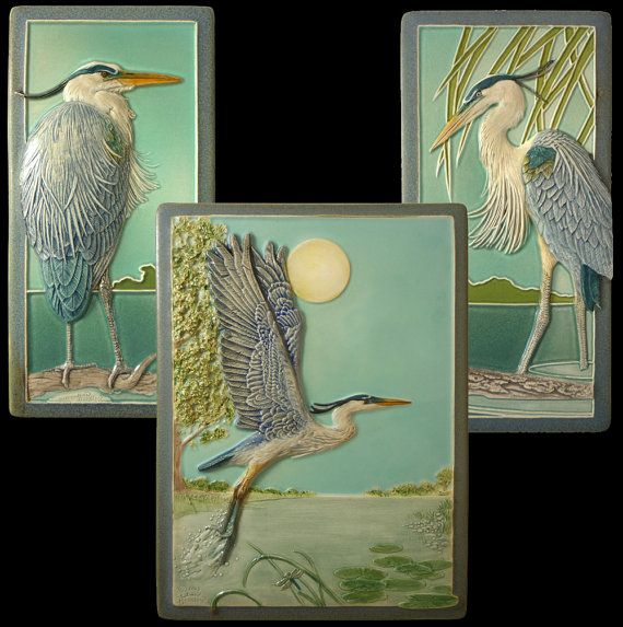 The Heron is a fully detailed, sculpted decorative ceramic tile. It faces the Great Blue Heron design I did earlier. The tile is