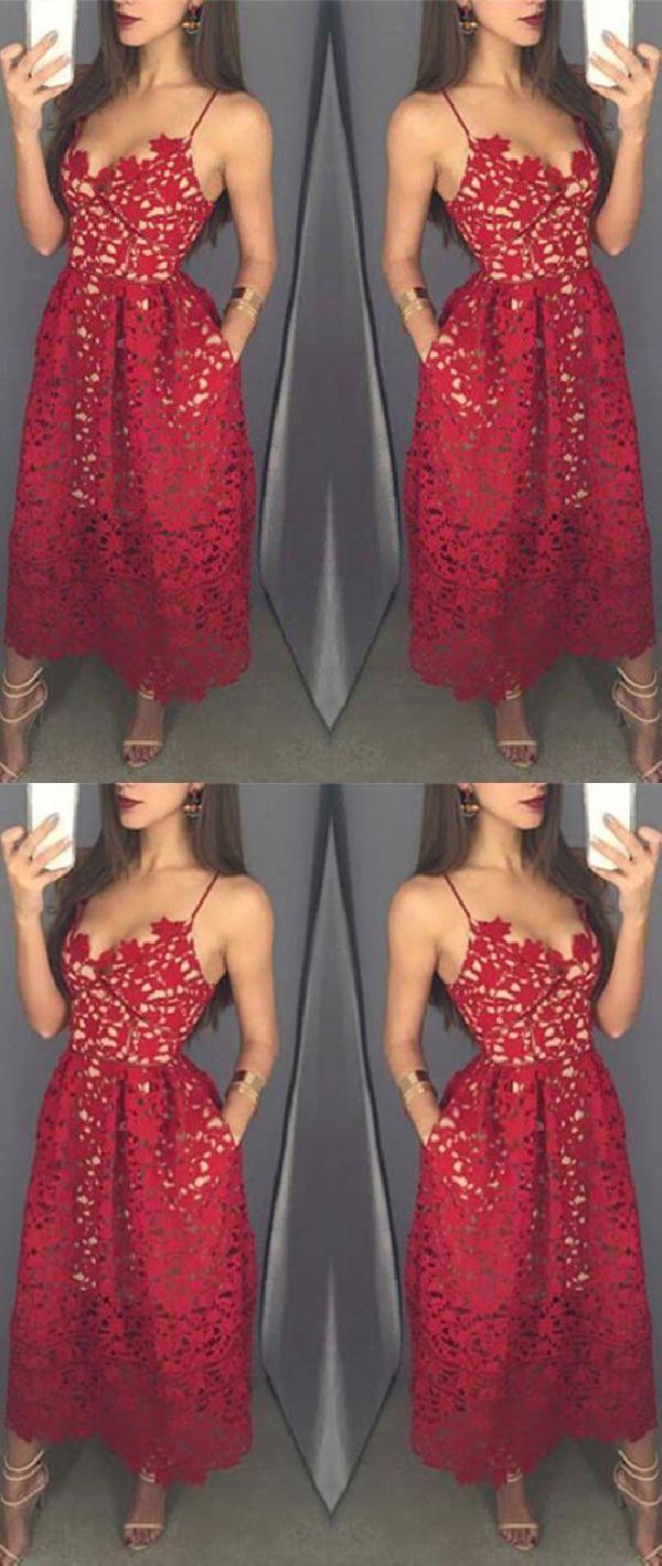 Fashion unique aline red lace tea length promevening dress in