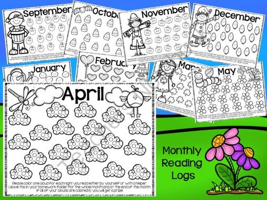 *NO PREP* Monthly Reading Logs and Homework Helpers from Teacher Twinkle Toes on TeachersNotebook.com -  (20 pages)  - These super cute reading logs and homework helpers allow a creative way to keep track of nightly reading requirements and have a no prep homework calendar for each month.                                                                                                                                                                                 More