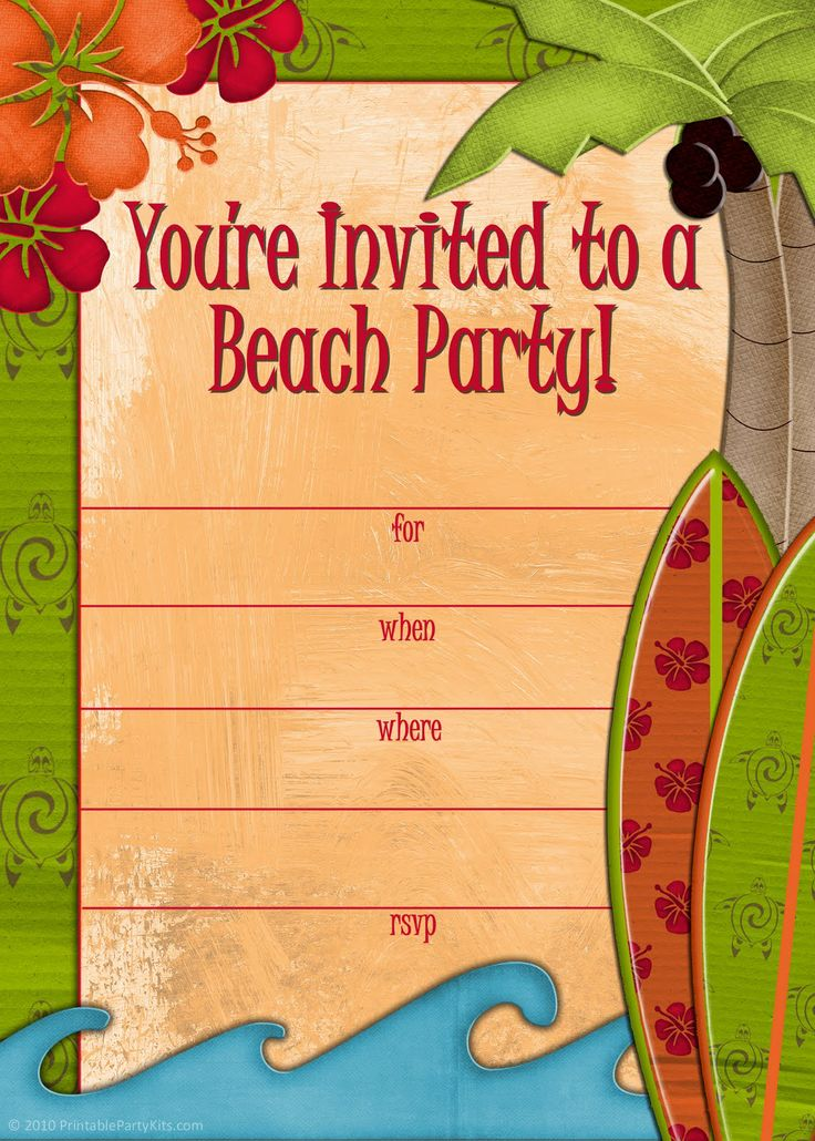 Free printable #beach party #invitations from PrintablePartyInvitations.Blogspot.com