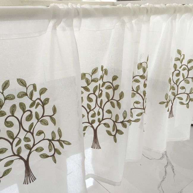 Half Curtain Hot Sale Fashion Coffee Curtain Tree Embroidery Lace Curtain for Bar Kitchen Cabinet Door Children's Room E-012 #Affiliate