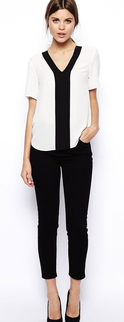 Women's fashion | V neck color block shirt