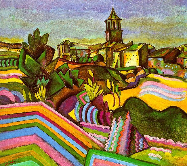 Prades, the Village by Joan Miró, (1917)  So different from all his works.  His Colors are incredible.  I have decided Miro is one of my favorite artists!!