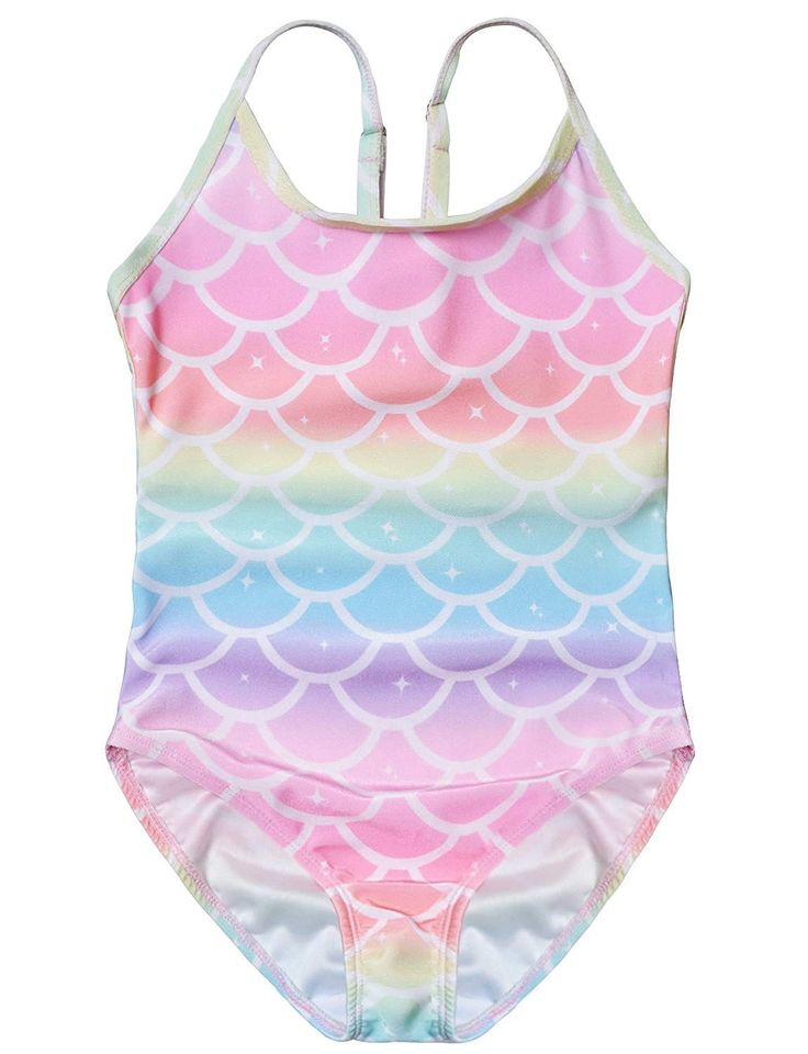 Girls Swimsuits One Piece Bathing Suits Unicorn Mermaid Kids Swim Clothes – Shell – C018NY2EO0D