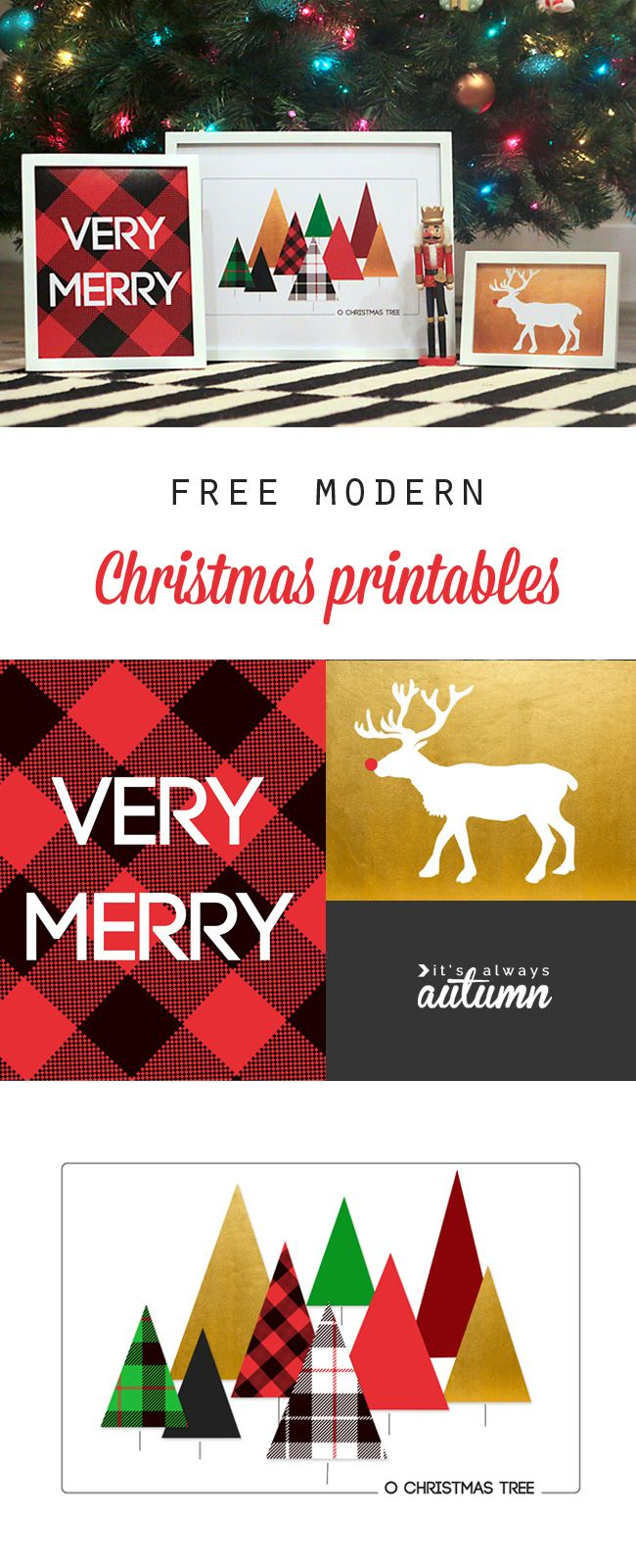 Modern Christmas printables - free Christmas prints and wall art for your home! | It's Always Autumn