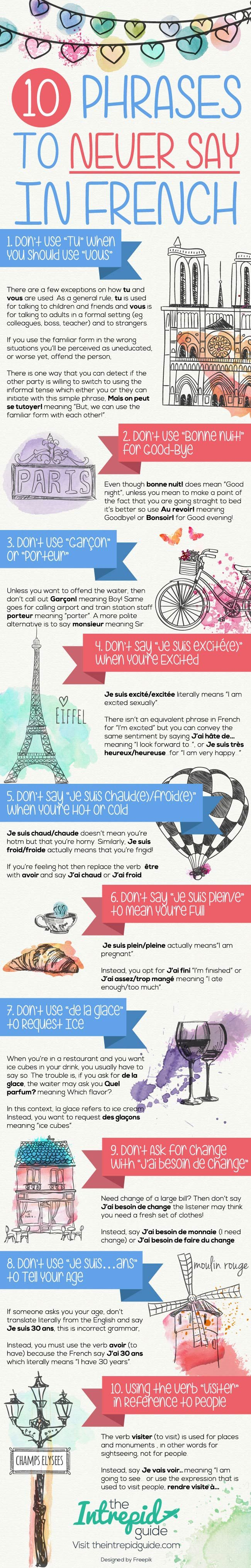 Top 10 Phrases to Never Say in French [Cheat-Sheet ✿ French / Learning French / FSL / learning languages / Spoken French / Speaking French / French Vocabulary ✿ Repin for later!
