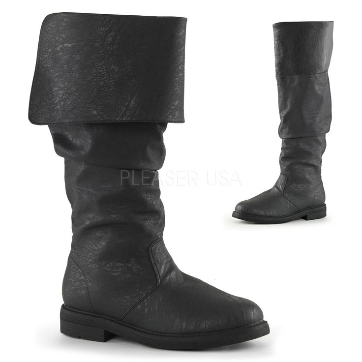 "1"" Flat Heel Cuffed Knee High Renaissance Boot, Inside Zip Closure Funtasma ROBINHOOD-100 S =Men's Size 8-9 M =Men's Size 10-11 L =Men's Size 12-13 XL=Men's Size 14"