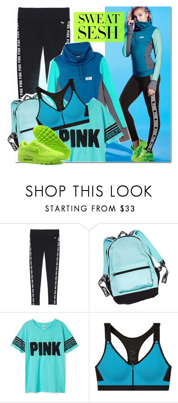 """""""Sweat Sesh: Gym Style"""" by bellasugar ❤ liked on Polyvore featuring Victoria's Secret PINK, Victoria's Secret, Pink, vs, gymstyle and sweatsesh"""