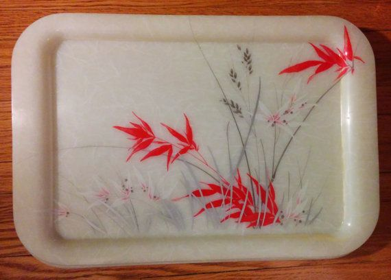 Vintage 60s White Fiberglass Rice Paper Asian Floral Dinner Serving Tray Set of 4