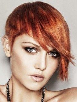Short Redhead Asymmetrical Hairstyle