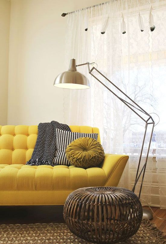 adding a Canary Yellow sofa to any space is sure to brighten it up.