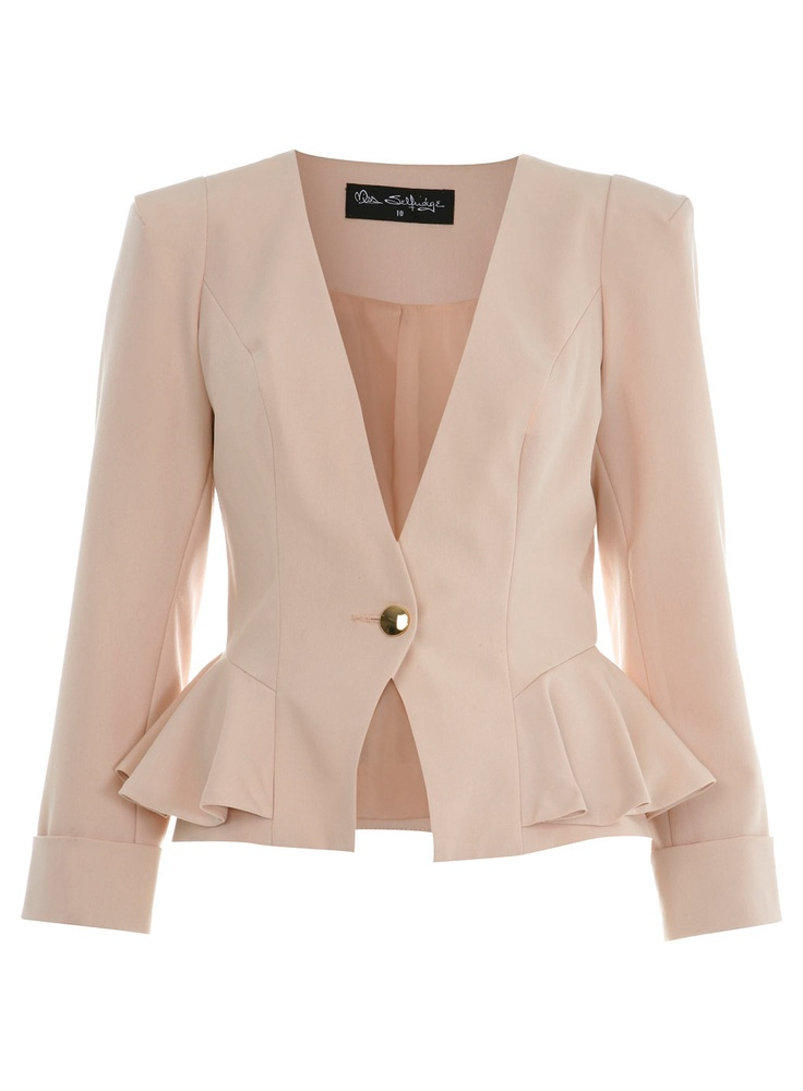 NUDE PEPLUM JACKET: Fashion Gems, Peplum Pink, Nude Peplum, Peplum Jackets, Jackets 82, Miss Selfridge, Jackets 35, Favorite Fashion, Selfridge Nude