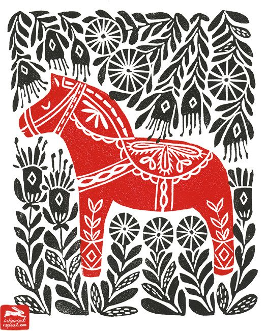 dala horse, illustration, andrea lauren, ink print repeat, andrea lauren, dala horse, woodcut, linocut, folk art,