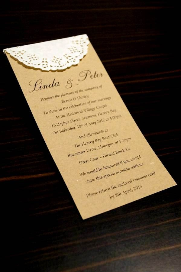formal business invitation card sample%0A Rustic Charm Wedding Invitation SAMPLE Paper Doily   Doilies recycled card          via Etsy