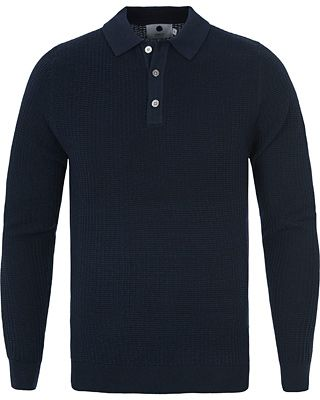 NN07 Walt Waffled Button Sweater Navy