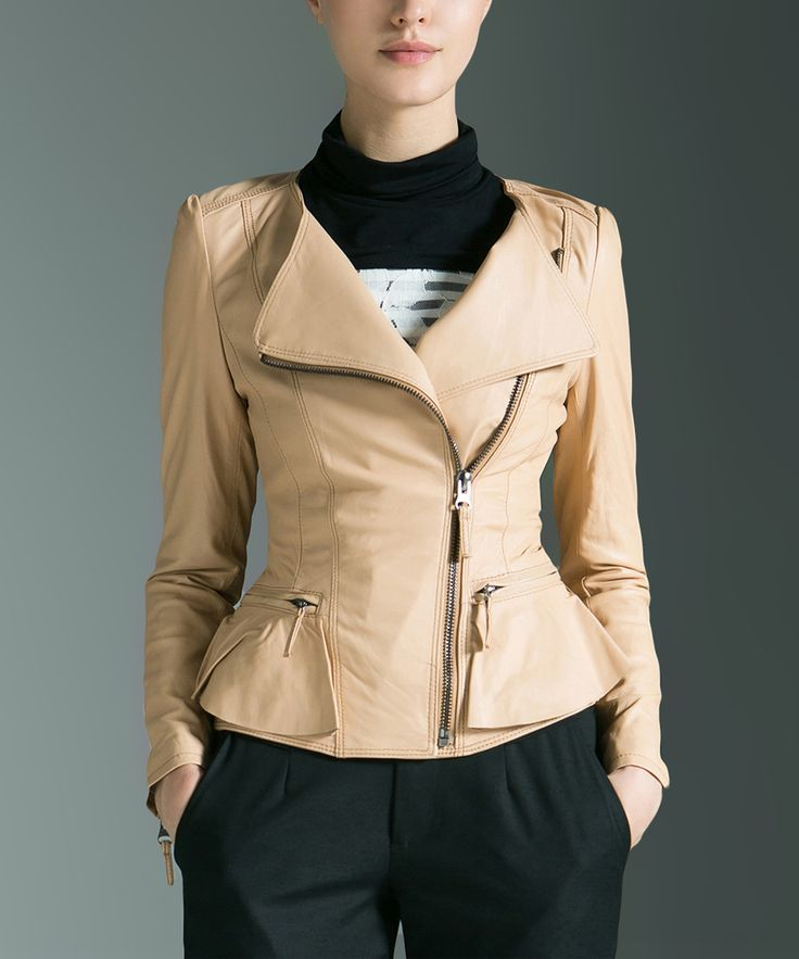 Brown Sheep Leather Zip-Accent Jacket