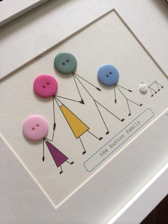 Personalised Family Print Frame por buttonbaps en Etsy