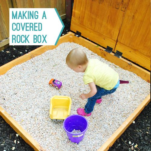 Rock Box instead of sand: Young Houses Love, Backyard Sands Boxes, Idea, Covers Sandbox, Rocks Boxes, Outlets Raybansunglass, Kids Rocks, Rocks Sands, Covers Rocks