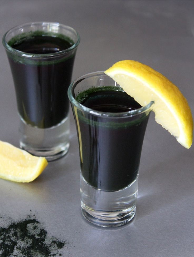 Spirulina shots. Spirulina is a blue-green algae, a complete protein, highly alkalizing, and has an abundance of nutrients. The old saying should go...