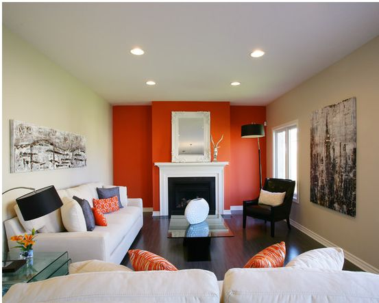 Red Colour Wall: Living Room Paint Color Ideas - Orange - White