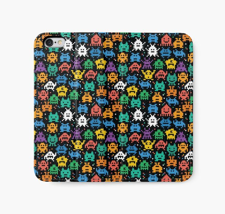 Pixelated Emoji Monster Pattern Illustration by Gordon White   Emoji Monster iPhone 6 Wallet Flat View Available @redbubble --------------------------- #redbubble #emoji #emoticon #smiley #faces #cute #addorable #pattern #iphone #case #skin #phonecase #phoneskin