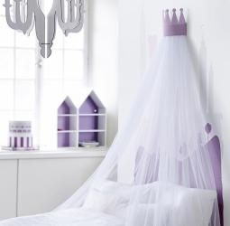Sänghimmel med ljuslila krona