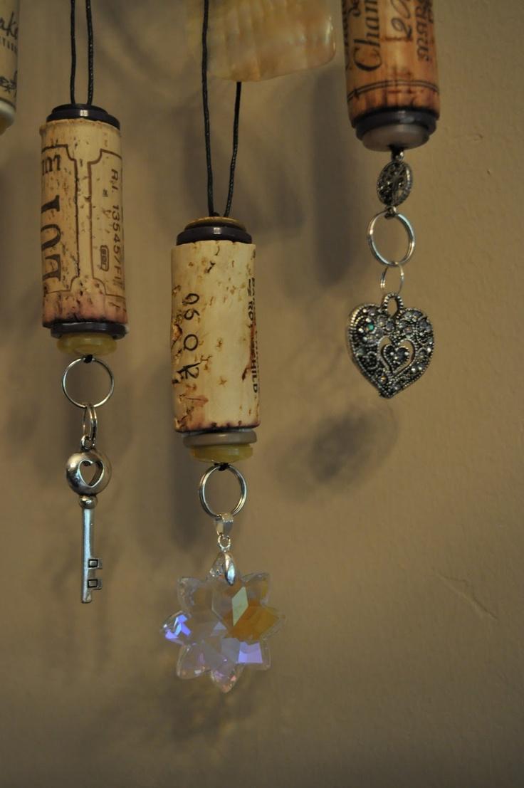 Wine bottle ornaments - Lavender Clouds Wine Cork Ornaments