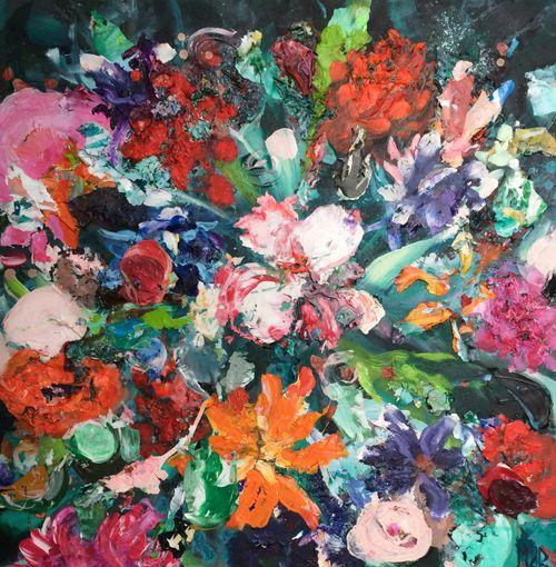Bont boeket 80 x 80 cm | acryl & paletstukken | te koop | www.ietsfraais.nl #bloemen #kunst #schilderij