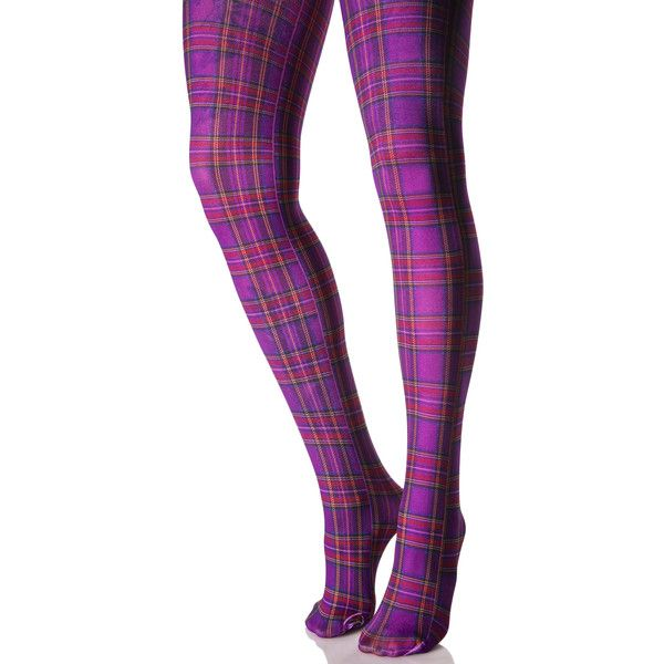 Plaid Present Tights ($8) ❤ liked on Polyvore featuring intimates, hosiery, tights, plaid tights, plaid stocking, purple opaque tights, purple pantyhose and opaque stockings