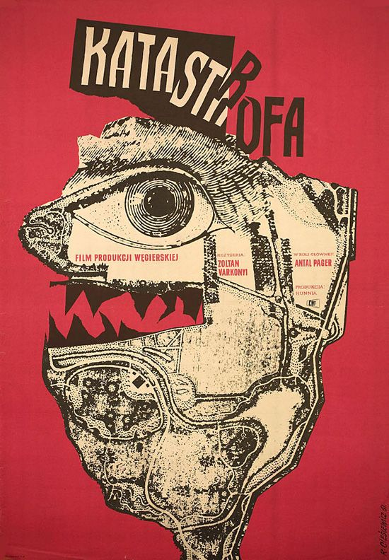 Designed by Roman Cieslewicz for 1961 Polish film Katastrofa