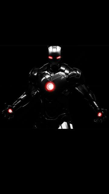 Iphone Iron Man Line Black Wallpaper