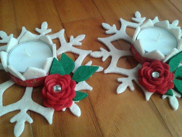 PortaCandela fatto con fustella sizzix Snowflake decorato