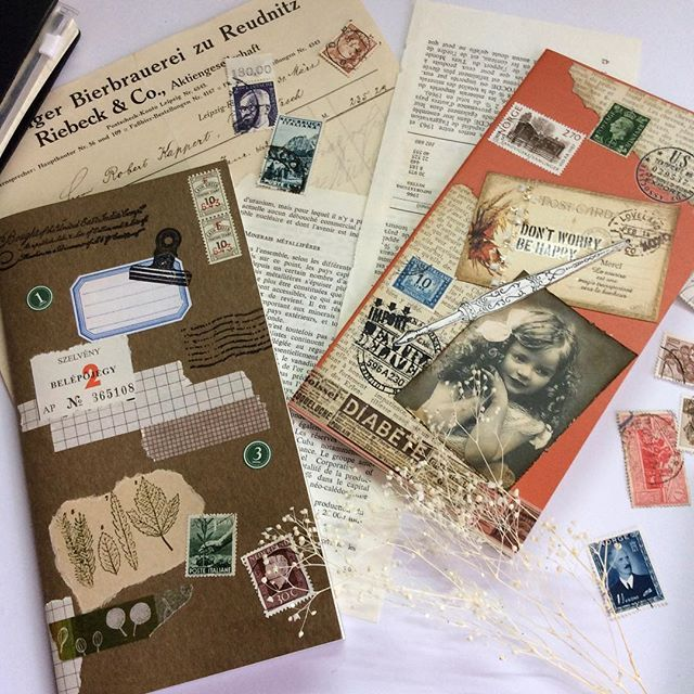 Played with new travelers notebooks. I did some collage on new (2017)monthly and free inserts.🍂来年のリフィルを買ったのでちょっと遊んでみました。ウィークリーはまだですが、とりあえず2冊完成。#travelersnotebook#travelersnotebooks#midoritravelersnotebook#inserts#collage#papercollage#papercraft#stamps#vintage#ephemera#monthly#トラベラーズノート#ミドリトラベラーズノート#リフィル#コラージュ#ペーパーコラージュ#ペーパークラフト#切手#ビンテージ#エフェメラ#マンスリー